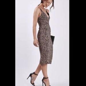 TOPSHOP leopard print V neck midi dress sz 8